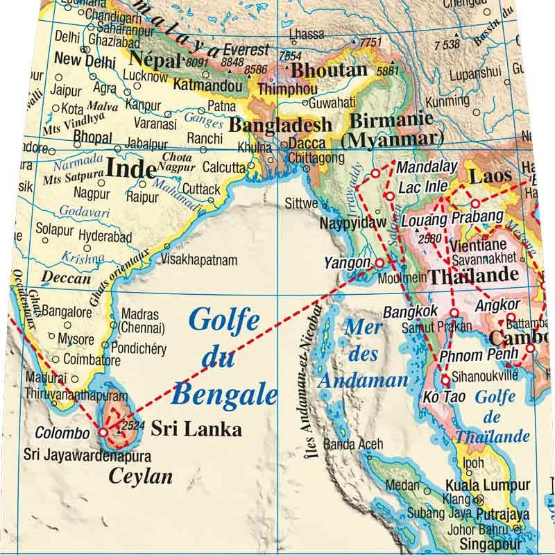 Tracé de voyage sur un globe personnalisé Litavis