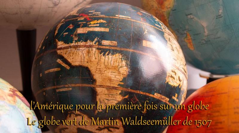 Fac-similé du globe vert de Martin Waldseemüller - 1507